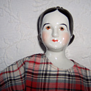 Unusual China Head Doll - Brown Eyes & Molded Hair ~ Made in 1960