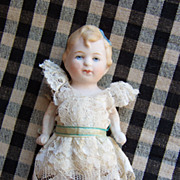 "Adorable 5"" All Bisque Limbach Doll in Cute Dress"