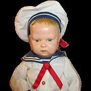 1913 Schoenhut Wood Doll Dressed As a Sailor