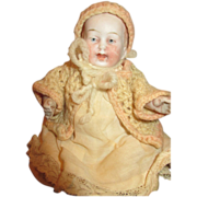 """Antique 6"""" All Bisque Limbach Baby with Sweet Expression"""