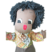 Large Black Cotton Cloth Doll with Embroidered Face