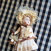 "Sweet 6.5"" German Bisque Head Doll in Paper Mache Body"