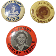 1930's Shirley Temple Doll Pins - Nice Set