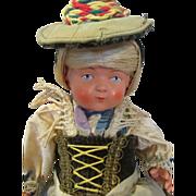 Pretty Antique Black Forest Celluloid Doll in Original Costume