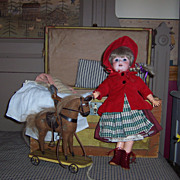 """Sweet 15"""" German Bisque Head Doll w/Trunk of Items"""