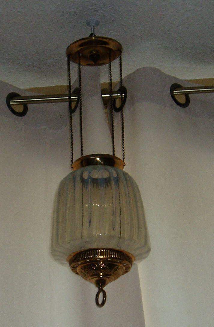 Antique white opalescent oil kerosene hall hanging lamp