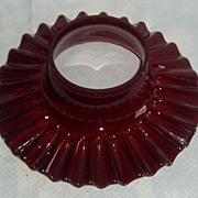 Beautiful deep red flat ruffled chimney shade for oil/ kerosene lamp