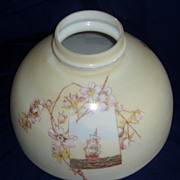 "10"" Decorated oil lamp shade with flowers and sailing ship"