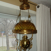 Antique victorian hanging oil lamp with glass amber hobnail shade