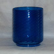 Antique Blue Swirl Glass Banquet Oil/Kerosene/Gas Lamp Shade