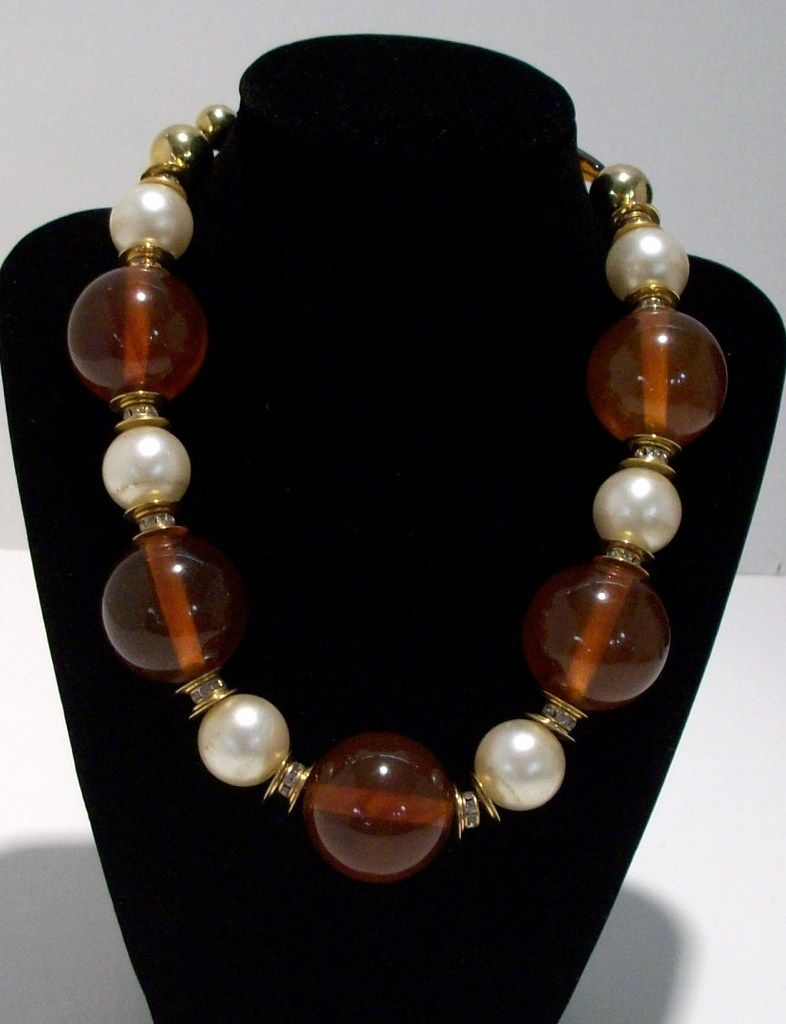 Bold Vintage European Amber Colored and Faux Pearl Necklace