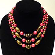 Lovely Three-Strand Rose and Black 1950s Japanese Beads