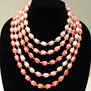 1950s Five Strand Pink Cascading Collar