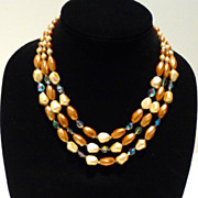 Three Strand Caramel Art Glass Bead Necklace
