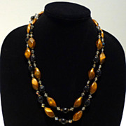 European Vintage Necklace in Faux Tiger Eye and Faux Onyx Beads