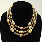 Speckled Murano Glass Bead Necklace with Faceted Faux Crystals