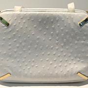 SALE PENDING White Ostrich Morris Moskowitz Handbag
