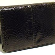 SOLD Forest Green Vintage Cobra Skin Clutch