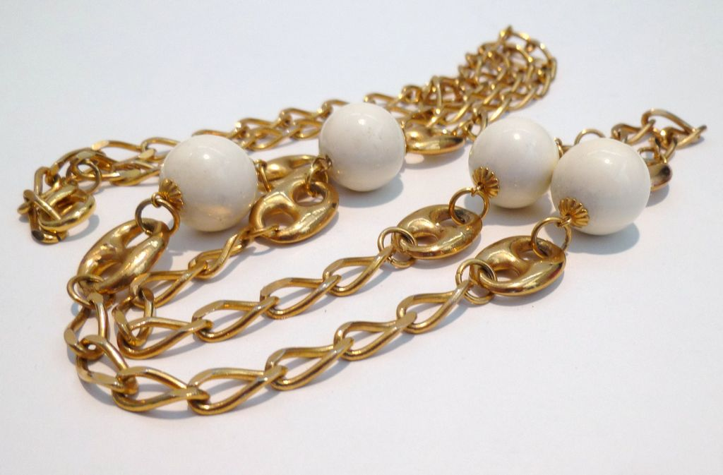Gold Tone Sautoir with Faux Ivory Accents