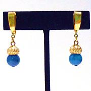 Gold Plated Drop Earrings in Faux Lapis Lazuli