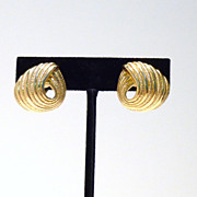 Vintage Trifari Gold-Tone Knot Swirl Earrings