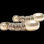 Gorgeous Faux Pearl and Rhinestone Chandelier Earrings