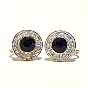 Sophisticated Napier Crystal and Faux Onyx Button Screw-Back Earrings