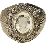 Vintage Whiting and Davis Intaglio Cameo Glass and Silver-Tone Cuff Bracelet