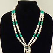 Double Tassle Mid-Century Japanese Necklace in Faux Pearl and Green
