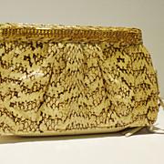 Cobra Snakeskin Clutch with Rhinestone Detail