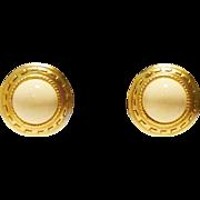 Oscar de la Renta Earrings with Greek Key Pattern in Ivory Color and Gold Tones