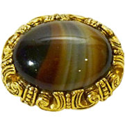 Oval Brooch with Glass Scottish Banded Agate