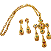 Byzantine style Belgian 'VB' Signed Demi Parure Gold-Tone Poured Glass Necklace and Earrings