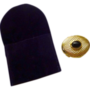 Judith Leiber Trinket/Pillbox in Gold Plate and Onyx