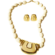 Two-tone Napier Cream and Mocha Enamel Necklace and Earrings