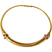 MINT Givenchy Gold-Tone Snake Choker with Ruby, Sapphire, Amethyst and Topaz Colors