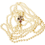 Richelieu Triple Strand of Faux Pearls with Gorgeous Gemstone Clasp