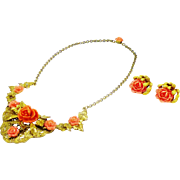 Beautiful Rose Carved Resin and Gold-Tone Necklace and Earrings