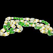Stunning European Silver Foil, Aurora Crystal and Green Glass Bead Sautoir - MINT!!