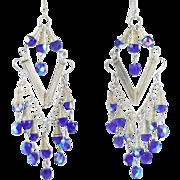 Breathtaking Blue Aurora Borealis Bead Chandelier Earrings