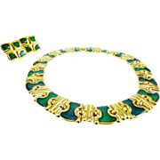 Amazing Monet Demi-Parure in Emerald-Green Glass on Gold-Tone - Wow!!