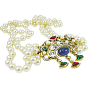 Geogeous Italian Double Strand Glass Pearl with Byzantine Style Pendant