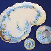 """SALE Limoges France Victorian Hand Painted Porcelain Dresser Set  """"Forget me Not"""""""