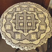 SALE Handmade Lace Round Tablecloth