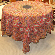 SALE Kashmir Embroidered Shawl  Paisley Antique