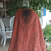 SALE Paisley Shawl, European 1800's Victorian, 60 by 128 inches