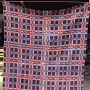 SALE Antique 1830's, New York, Early American, Coverlet Red White and Blue