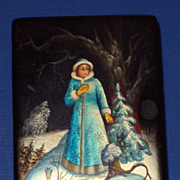 Russian Lacquered Box, The Snow Maiden, hand painted, signed, paper mache
