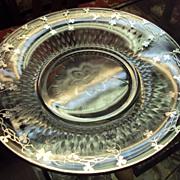 SALE Stirling Silver Shamrocks and Four Leaf Clover over Elegant Glass Serving Platter