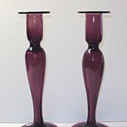 SALE Dorflinger Amethyst Glass Candlesticks rare
